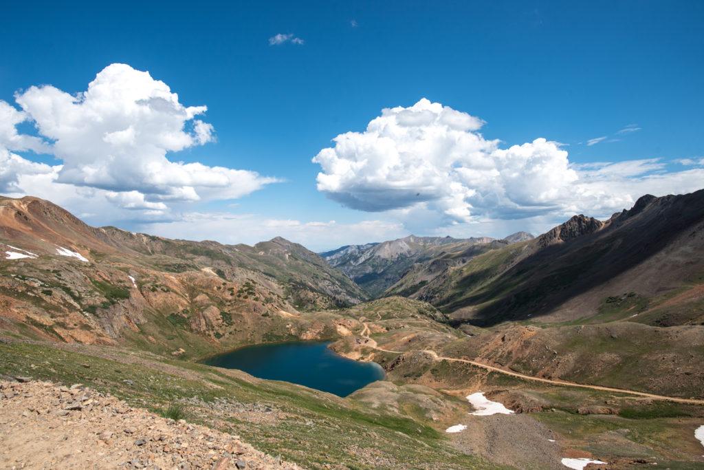 gorgeous view of a high alpine lake just outside of Ouray, Colorado