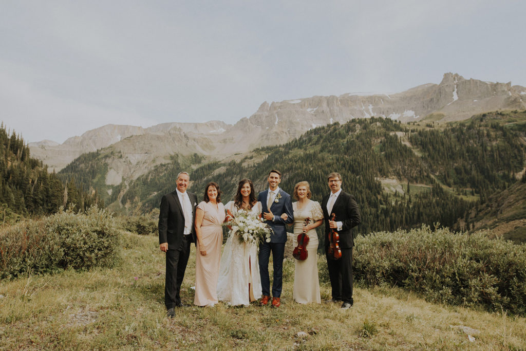 the family at the elopement in ouray colorado at Yankee Boy Basin