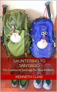 The cover of the book Sauntering to Santiago. This is a book about an older couple who walk the Portuguese route to Santiago. It is an interest book about the Camino de Santiago in that they take a different route and a slower, more methodical method of walking than most.
