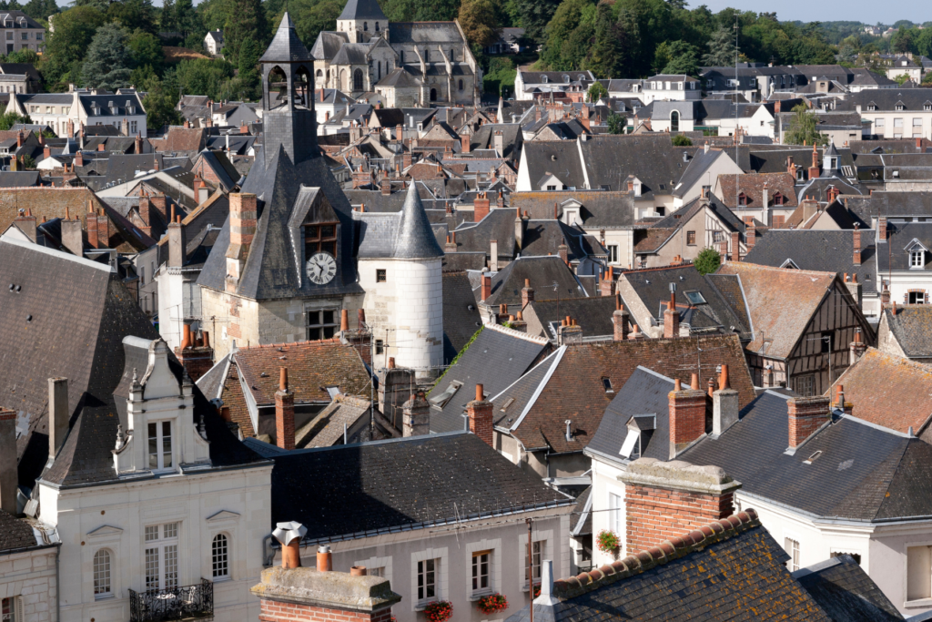 View of the homes of Amboise in the Loire Valley of France. The photo is taken from the grounds of the Chateau d'Amboise. There are some great hotels in Amboise France and it is a wonderful place to stay.