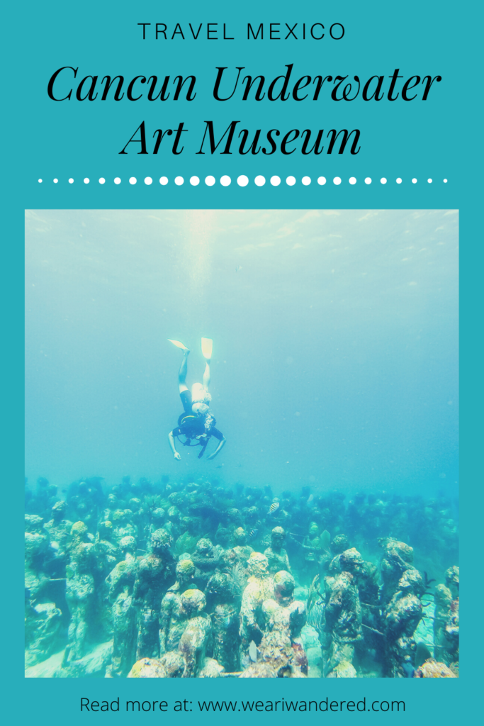 The Cancun Underwater Art Museum was developing in the waters around Cancun, Mexico to help the reefs. The artwork is from pH neutral cement so that coral and seaweed can grown on it. It is made to be a sanctuary for many different species of marine animals. MUSA is a great place to snorkel or SCUBA in Cancun!