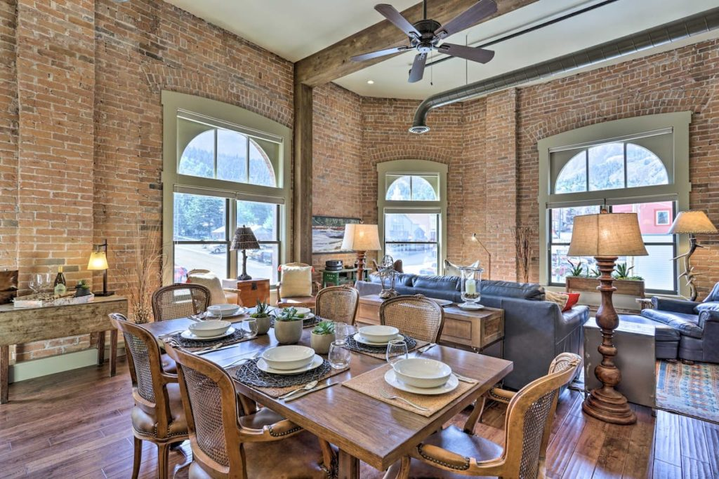 Wonderful rental in Ouray Co. With brick walls and high ceilings and a perfect location in downtown Ouray. This is a perfect Airbnb to rent in Ouray, Colorado.