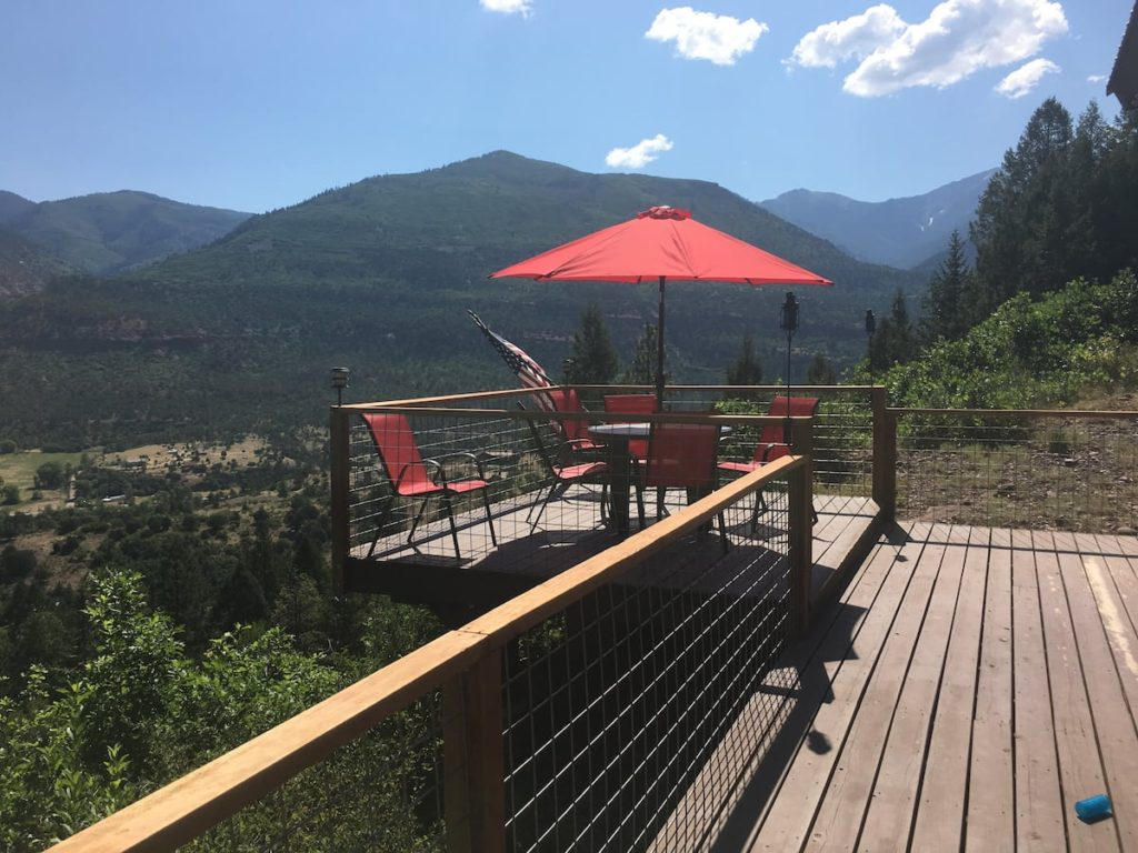 Mountain side cabin for rent in Ouray Colorado. This one has glorious views all around.