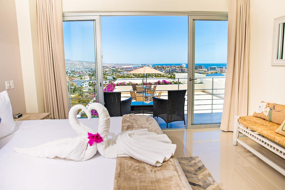 Bedroom with a view of the ocean.
