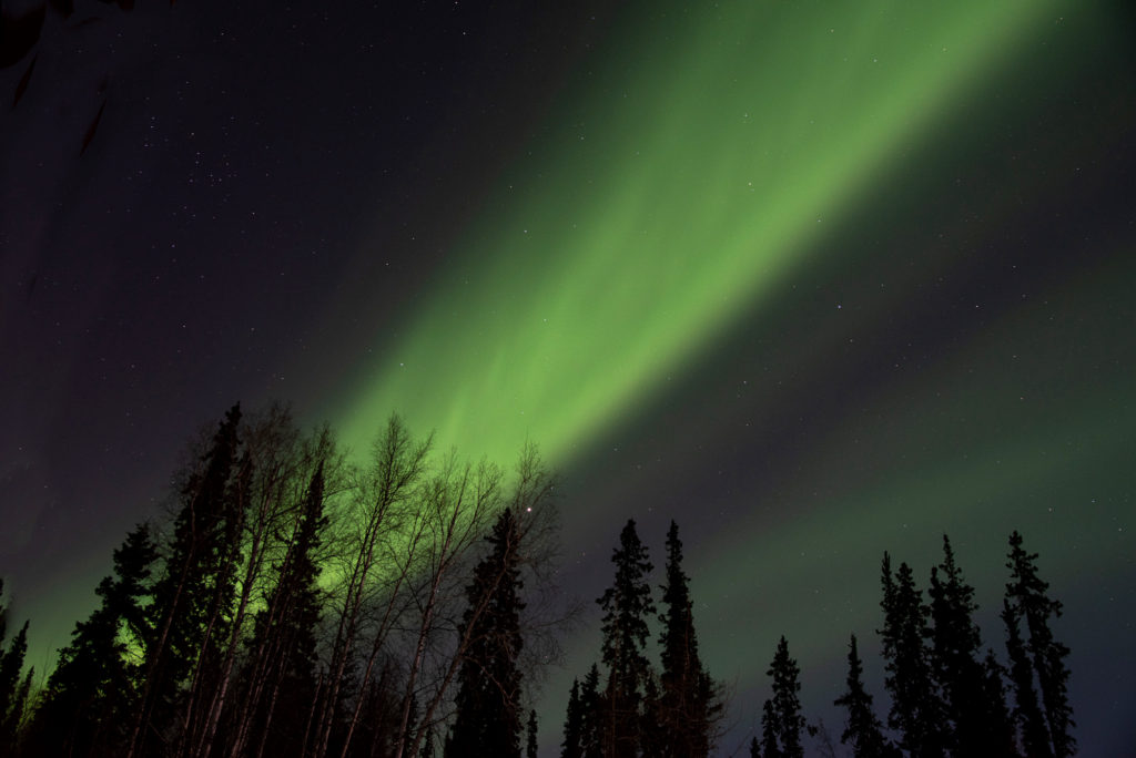 Photo of the night sky with the aurora borealis. This photo was taken in February in Fairbanks Alaska. There are some amazing things to do in Fairbanks Alaska in the winter.