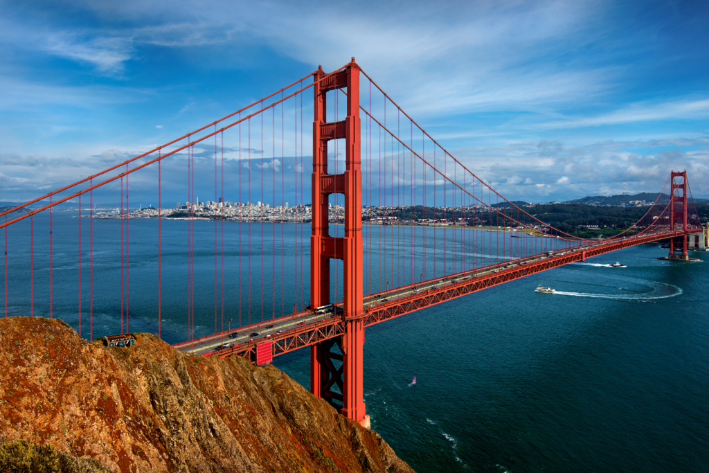 This is the iconic view of the Golden Gate Bridge from Battery Spencer. You can see the bridge in the forground almost at eye level and the city of San Francisco is in the background. One of the best places to see the Golden Gate Bridge.