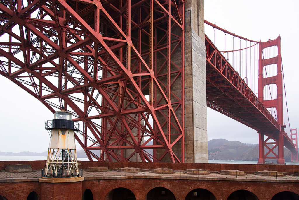 Fort Point is a good place to view the famous San Francisco bride from below. You can see the way the bridge was constructed from this view point.